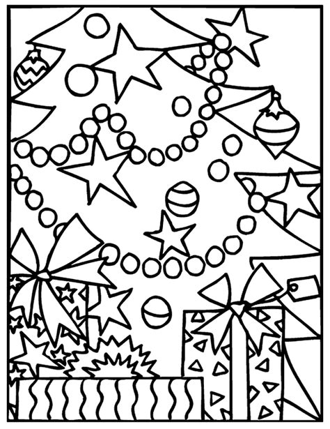Christmas Lights Coloring Pages For Kids Coloringstar Tree Decorations Coloring Pages