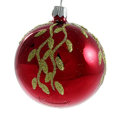 christmas balls quot willow quot glass christmas ball ornament red glossy ebay