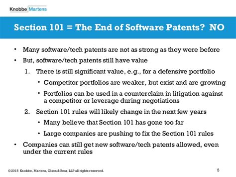 patent section 101 software patent eligibility a post alice landscape