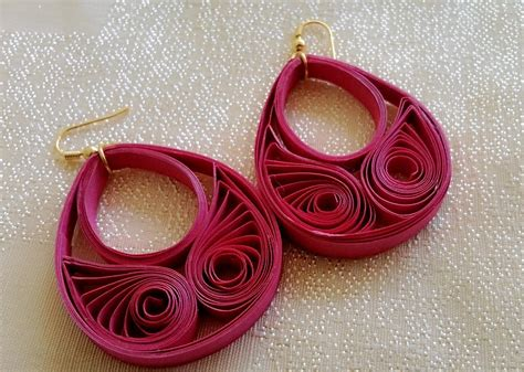 Paper Craft Earrings - papercraft silk thread chandbali made with quilling