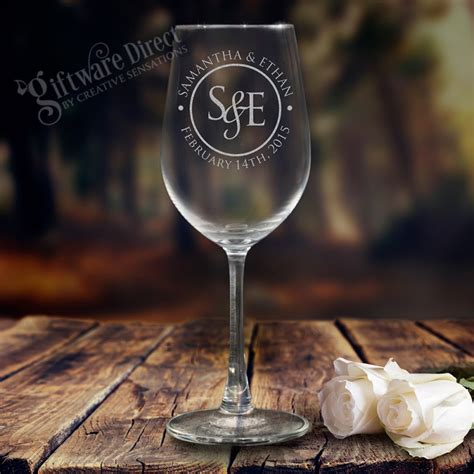 Wedding Gift Wine Glasses by 5 X Personalised Wine Glasses 360ml Engraved Glass Wedding