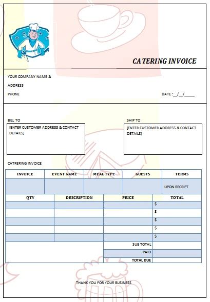 Search Results For Catering Bill Template Calendar 2015 Catering Calendar Template
