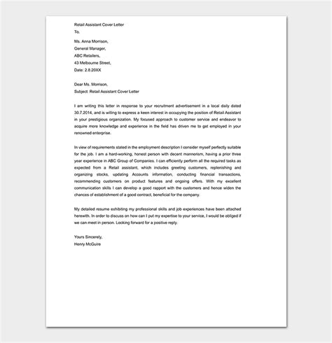 cover letter template word format