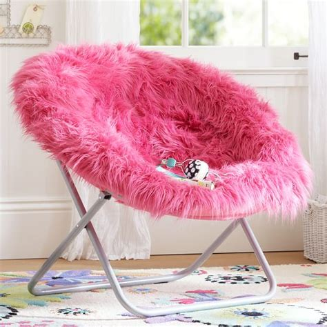 pink fluffy chair pink fur rific faux fur hang a chair pbteen