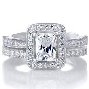 emerald cut wedding set kilma s emerald cut cz halo wedding ring set