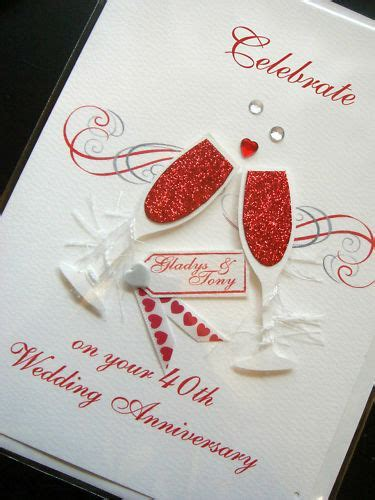 Personalised Handmade 40th 'Ruby' Anniversary Card   eBay