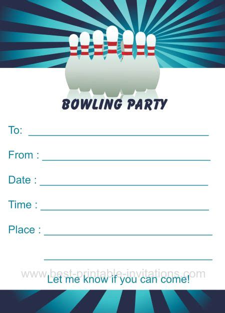 bowling birthday card template bowling birthday invitations