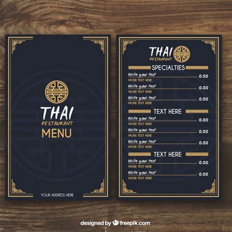 design online menu thai menu template vector free download