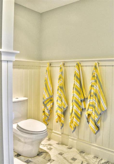yellow gray and white bathroom powder room beadboard design ideas