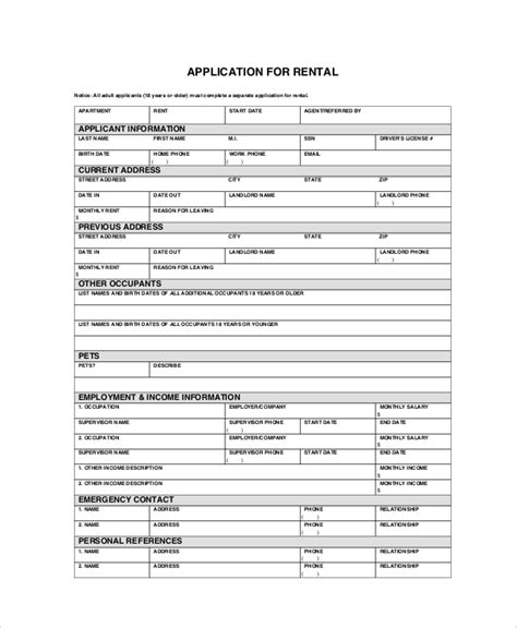 tenant application form apartment application 7 free pdf word documents