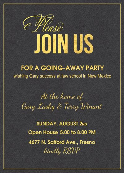 going away invitation template gary s going away invitations cards by