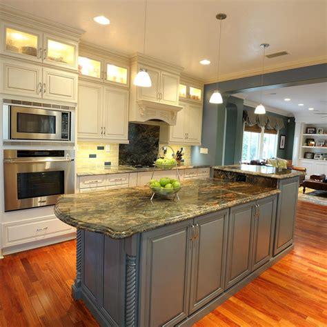 blue kitchen island transitional kitchen photos hgtv