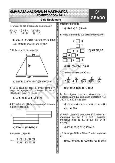 examenes resueltos de las olimpiadas cientficas plurinacionales examenes de olimpiadas de matematicas primaria peru