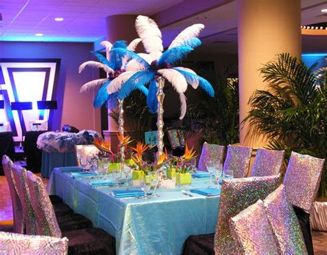 decorations in brazil carnival theme blue feathers sparkle