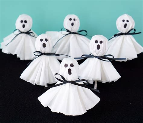 Kids Christmas Crafts To Make - coffee filter ghost lollipops happiness is homemade