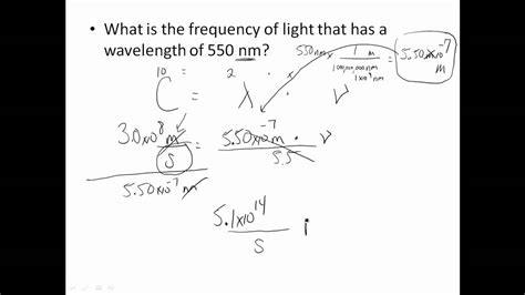 frequency of light calculator wavelength frequency problems youtube