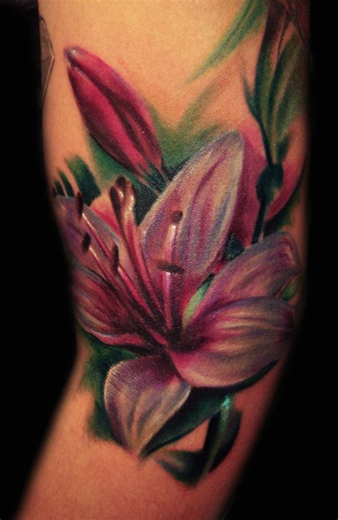 stargazer lily tattoos color by hatefulss on deviantart