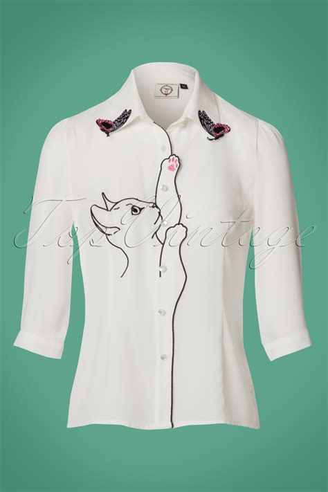 White Bunny Ear Blouse 1960s 1970s blouses shirts and tops
