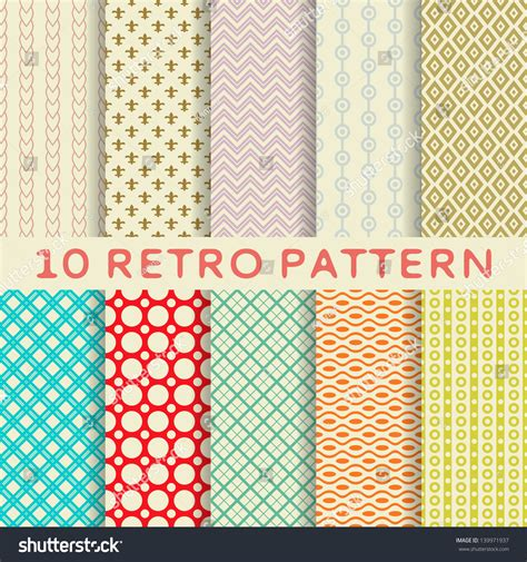 pattern and texture difference 10 retro different vector seamless patterns stock vector