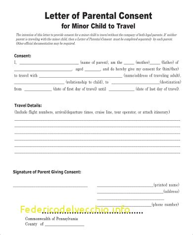 authorization letter for child travel delightful free child travel consent form template free
