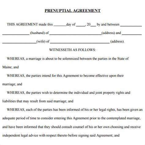 post nuptial agreement uk template prenuptial agreement 8 free sles exles format
