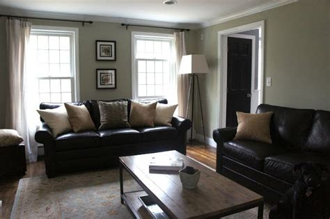 Living Room With Black Sofa Decorating With Black Leather Couches My House Inspiration House Tours Curtain
