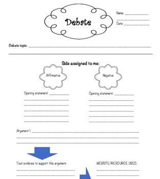 debate cards template guided debate worksheet by peri winborne teachers pay