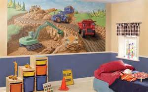construction site mural for room decor