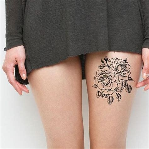 amazing black and white rose tattoo on leg tattoo wf