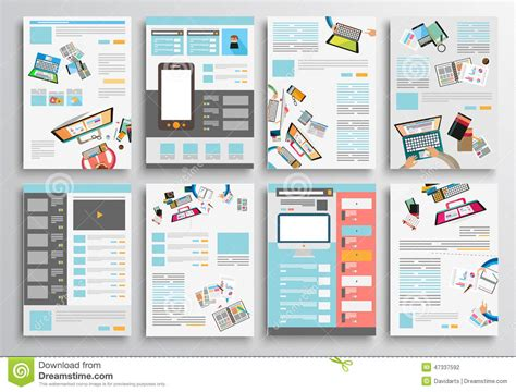 infographic brochure template set of flyer design web templates brochure designs stock