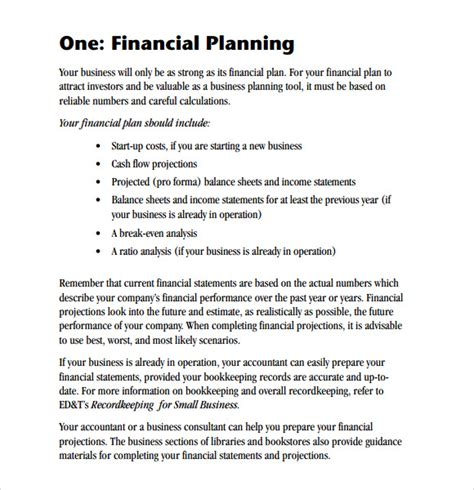 financial business plan template sle financial business plan 5 documents in pdf