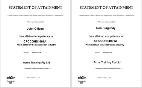 certificate of attainment template displaying items by tag asqa