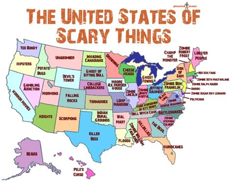 map of the united states showing each state map of united states that shows scariest thing in each state