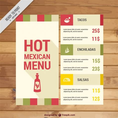 mexican menu template free mexican menu template vector premium
