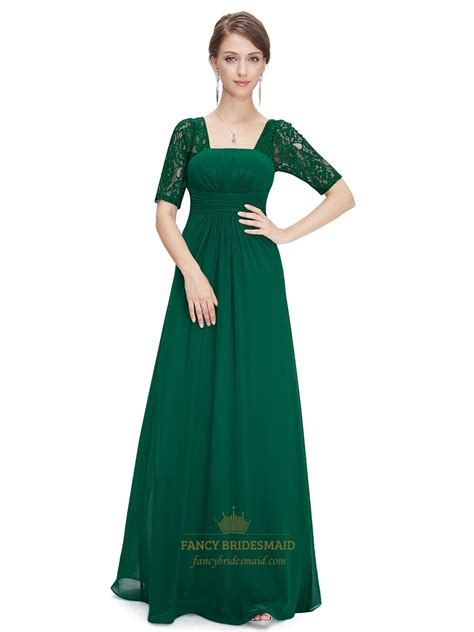 emerald green empire waist ruched long bridesmaid dress
