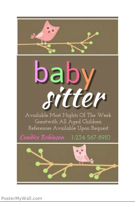 baby sitting flyer template postermywall