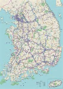 road map of south large detailed road map of south korea south korea large