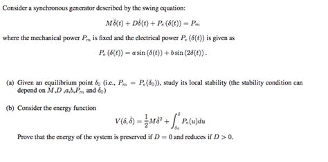 swing equation solved consider a synchronous generator described by the