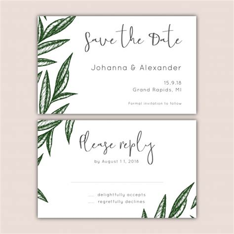 Wedding Invitations Rsvp And Save The Dates save the date and rsvp cards set vector free