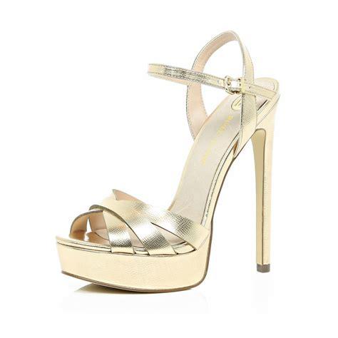 Golden Cross Chunky Heels Import 2 metallic gold platform heels qu heel