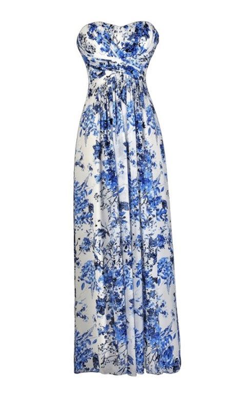 Maxi Blue Flower blue and ivory floral print maxi dress blue and ivory