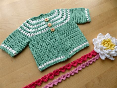 free pattern crochet yoke cluster yoke baby cardigan make my day creative