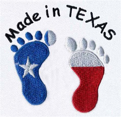 Bella Mia Designs Embroidery Design Texas Baby Footprints Baby Footprint Designs 2