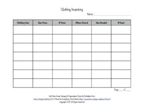 free printables for your home and closet up to date printable clothing inventory form free printable