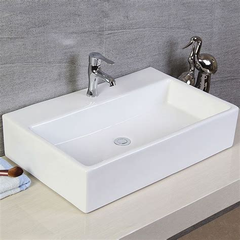 Above Counter Kitchen Sinks Rectangle Bathroom Ceramic Above Counter Basin Kitchen Porcelain Vessel Sink Ebay