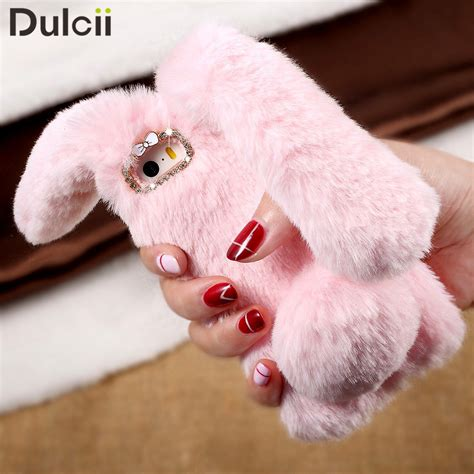 Iphone 6 6s Soft 3d Rabbit Fur Plush Flurry Sarung Casing for iphone 6s fundas bag cover cases rabbit bunny