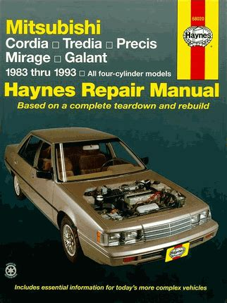cordia tredia precis mirage galant repair manual 1983 1993