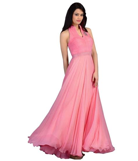 lade shop shop pink georgette partywear gown buy shop