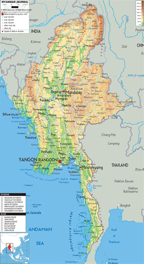 myanmar physical map physical map of myanmar ezilon maps