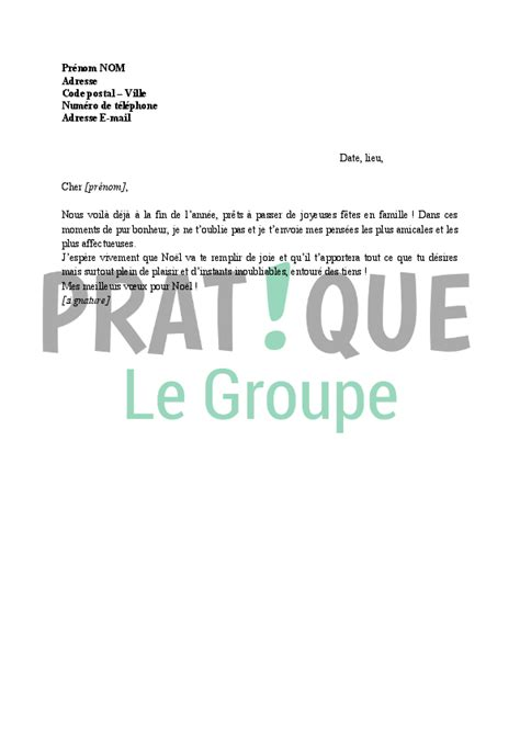 Exemple De Lettre Joyeux Noel Lettre De Voeux 224 Un Ami Pour No 235 L Pratique Fr